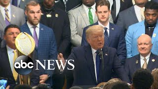 Trump honors LSU football team, jokes about impeachment l ABC News