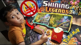 POKEMON LUNCH VS. MCDONALDS LUNCH!! Opening 2 Shining Legends Treasure Chest/Lunch Tins!! Hungry?!