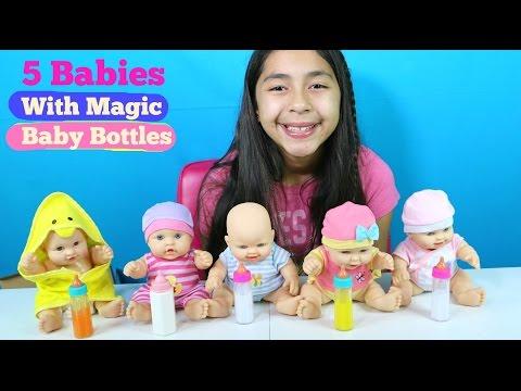 5 Baby Dolls With Magic Baby Bottles | Baby Doll Toys | B2cutecupcakes