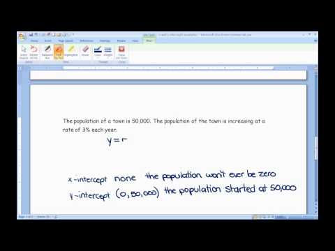 x and y intercepts of exponential functions