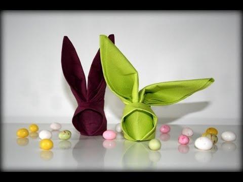 Origami tutoral - Bunny napkin