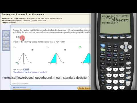 Find the Area under the Normal Curve with a TI83 or TI84 Calculator