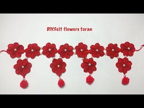 Making of felt flower Toran/festival decoration/pooja room decoration/Diwali decoration ideas