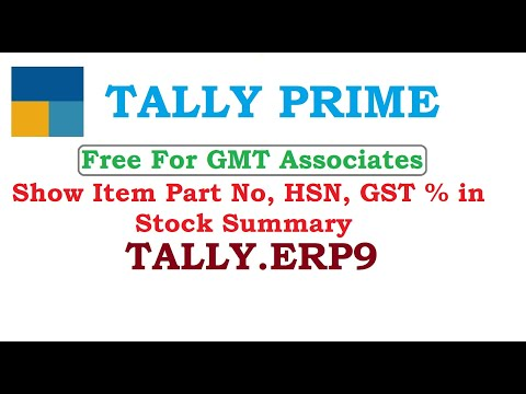 Show Item Part No, HSN, GST % in Stock Summary