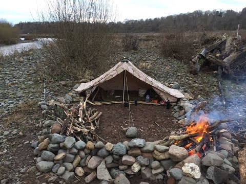 SOLO WINTER BEACH CAMP UNDER CANVAS COLD & WET