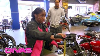 Naomi and Jimmy Uso visit a motorcycle shop for her movie role: Total Divas, Nov. 30. 2016