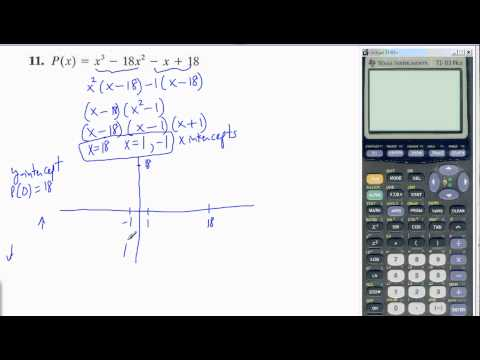 Graph cubic polynomial function by finding intercepts and leading coefficient test