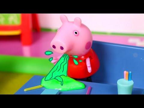 💗 PEPPA PIG 💗 Peppa gets sick at school   Peppa Pig Toys English