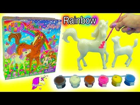 Lisa Frank Do It Yourself Custom Painting Horses Craft Kit Rainbow Chaser & Lollipop