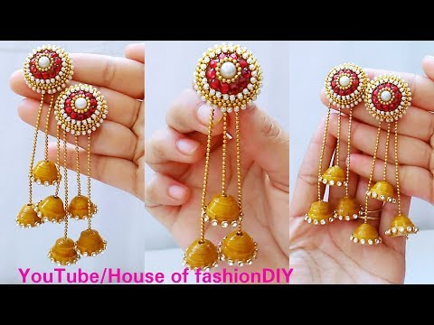 How To Make Devasena(Bahubali) Earrings At Home With Easily Available Materials