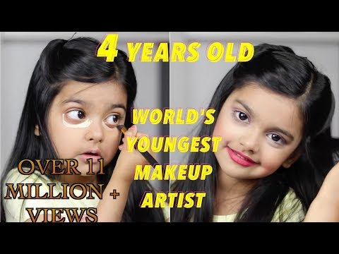 The world's youngest makeup artist does her makeup! 4 Year old! | INCREDIBLE!!! | Aimalifestyle |