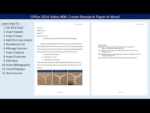 Office 2016 Video #08: Create Research Paper in Word