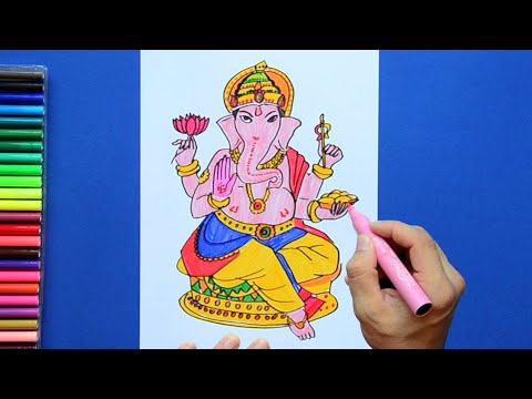 How to draw and color Lord Ganesha