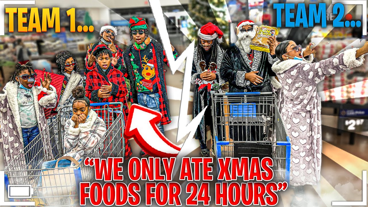 WE ONLY ATE CHRISTMAS FOODS FOR 24 HOURS CHALLENGE!!!! (PLOT TWIST)