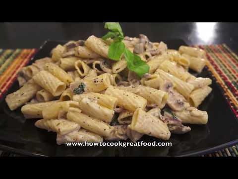 Italian Food - Mushroom Cream Pasta Rigatoni Recipe Super easy & fast parmesan