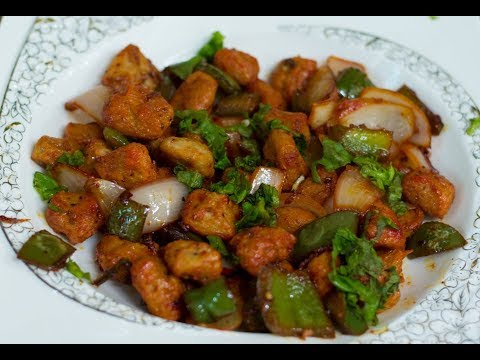 A High Protein Meal Veg Soya Chilli Chunk Snack   Good meal for Bodybuilding 2017