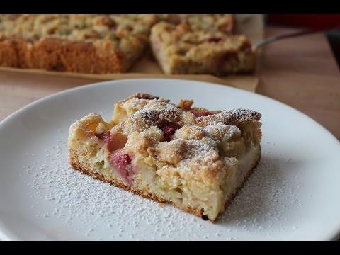 Rhabarber Streuselkuchen (Rezept) || Rhubarb Crumble Sheet Cake (Recipe) || [ENG SUBS]