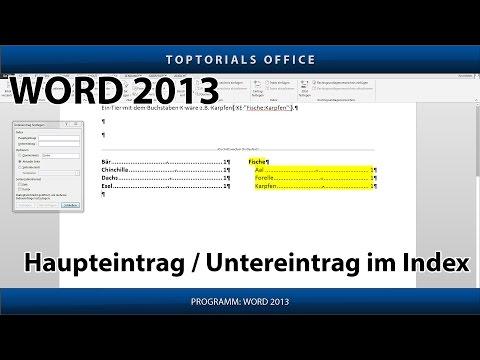 Haupteintrag und Untereintrag im Stichwortverzeichnis / Index (Microsoft Word)