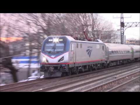 Metro-North, Amtrak & SLE trains in Norwalk CT  1/11/17