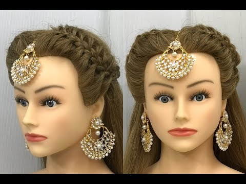 2 Beautiful Hairstyles with Maang Teeka : Easy Wedding Hairstyles