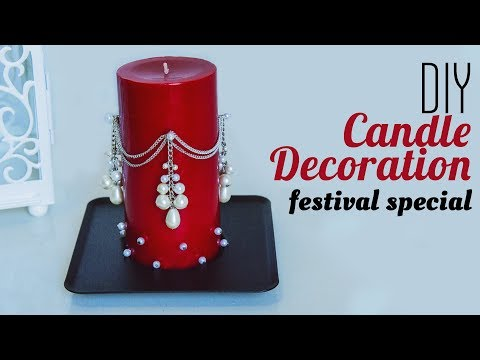 How to decorate candle with pearl | DIY candle decoration | Christmas Decoration ideas | Beads art