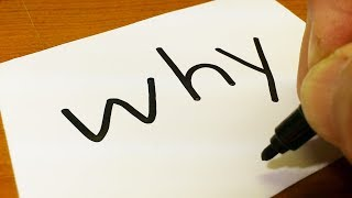 Very Easy ! How to turn words WHY? into a Cartoon for kids - How to draw doodle art on paper