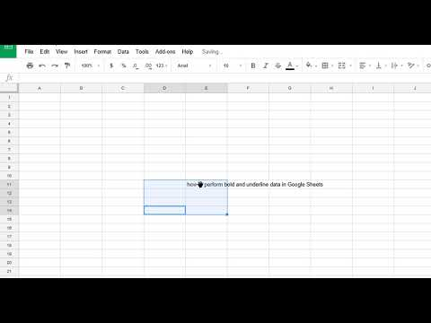How to Bold and Undeline Data in Google Spread Sheets