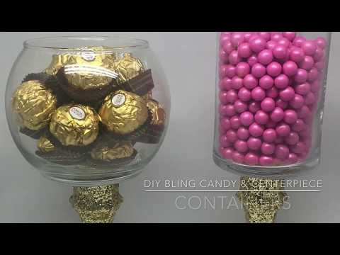 DIY Dollar Tree Bling Candy and Centerpiece Containers