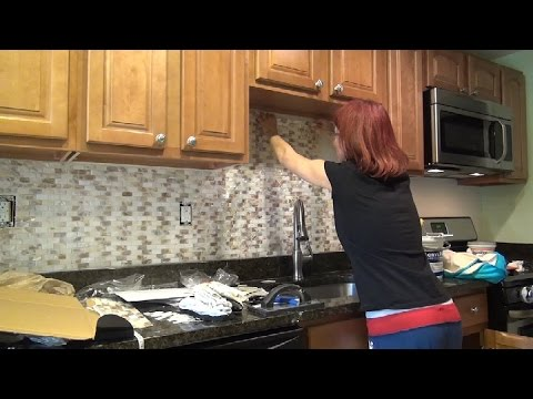Tile DIY Kitchen Backsplash Installation - Mother of Pearl Shell  How To ⭐