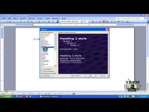 How to Use or Insert Microsoft Office 2003 Word Documents Themes