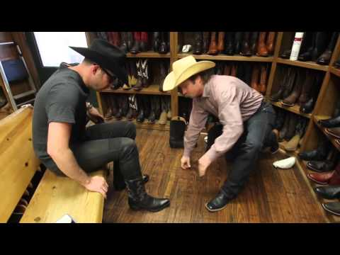 Tenor Stephen Costello fitted for cowboy boots and hat