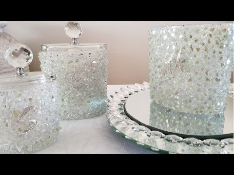 DIY| TURNING UPCYCLED CANDLE HOLDERS INTO BLING AND GLAM MAKE UP CONTAINERS