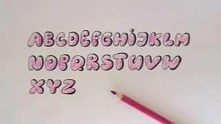 how to draw bubble writing real easy letter e