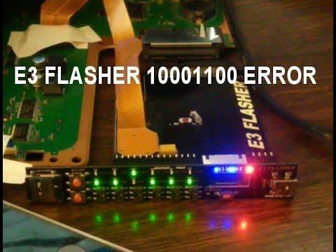E3 Flasher: 10001100 error (156 error). Shave the socket.