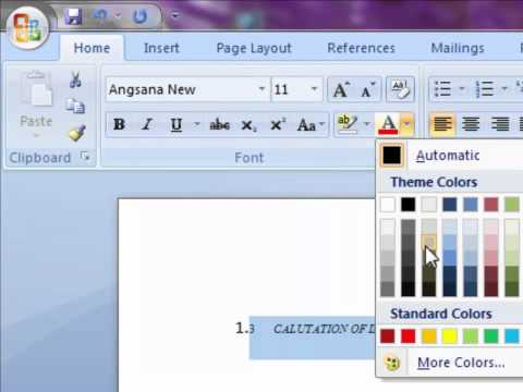 How to Change Font Color in Microsoft Word 2007