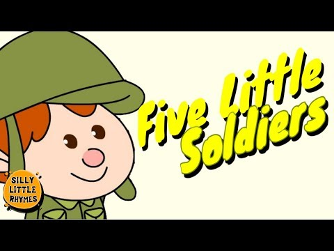 👮 Five Little Soldiers | Cartoon Nursery Rhymes Songs For Children 👮