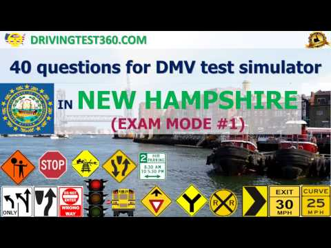 NH DMV practice test: 40 questions for DMV test simulator in New Hampshire (Exam Mode #1-3)