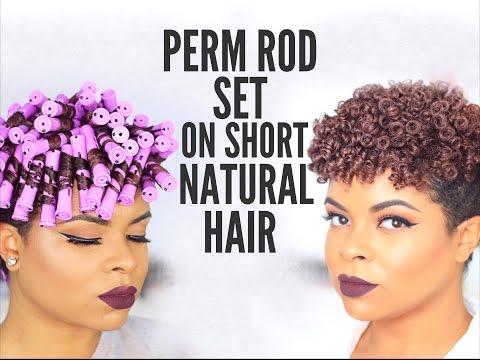 Natural Hair   Perm Rod Set on Short Hair - No Heat
