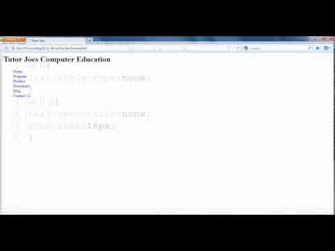Creating Horizontal Menu Bar in CSS Tamil