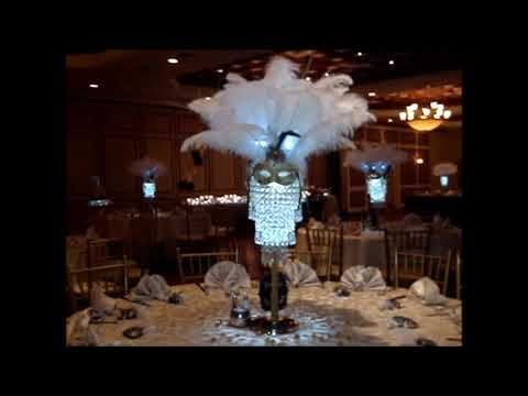 Masquerade Themed centerpieces with Sweet 16 Floating Candle Ceremony at the Hamlet Country Club