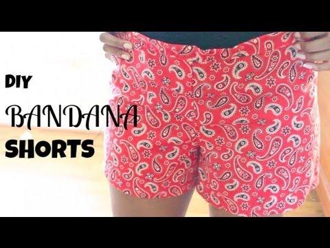 DIY Bandana Shorts - Hand Sewn (No Machine) :D