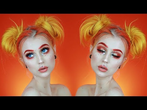 Glitter Festival Makeup + Space Buns with Short Hair CHATTY GRWM | Evelina Forsell
