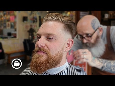 Beard Fade with Slick Back Haircut