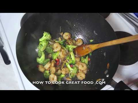 Prawn & Broccoli Stir fry Recipe  - Asian wok cooking Shrimp