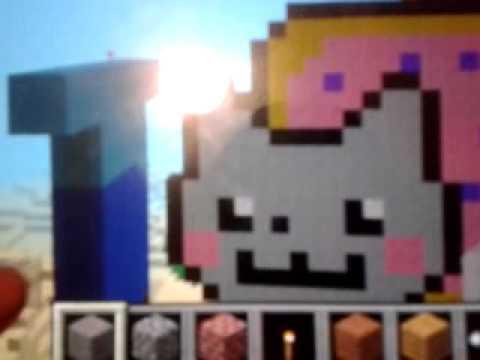 Minecraft pe pixel art episode 1: nyan cat, steve