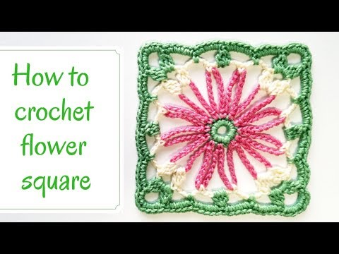How to crochet flower square