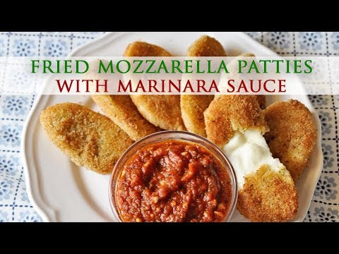 Homemade Fried Mozzarella Patties with Marinara Sauce