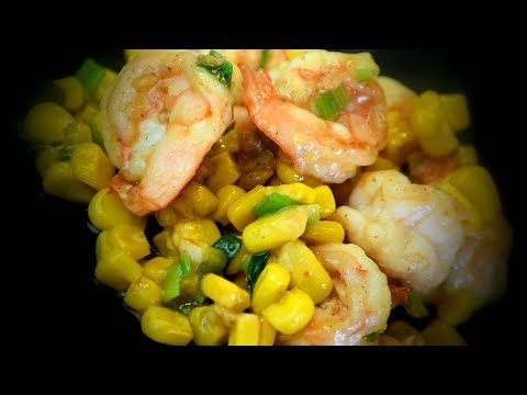 Chinese Shrimp & Sweetcorn Stir Fry (Chinese Style Cooking Recipe)