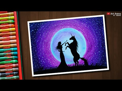 Unicorn Moonlight Scenery Drawing With Oil Pastels Step By Step
