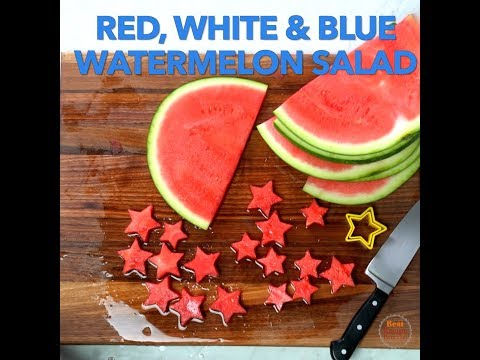 Patriotic 4th of July Watermelon Star Salad- aka The Red White & Blue Salad
